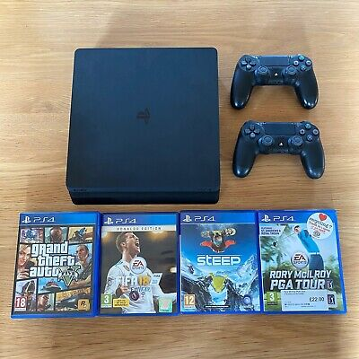 Sony Playstation 4 Slim 500gb Boxed With 2 Controllers And 4 Games, Gta V, Fifa
