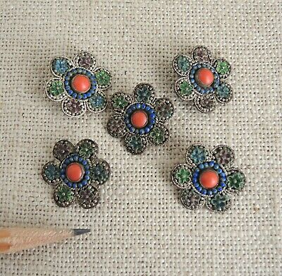 Set 5 Antique Chinese Export Coat Robe Buttons Enamel Silver Plate Coral Flower
