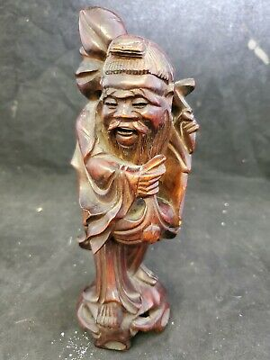 Vtg Japanese Asian Hand Carved Wise Man Figurine Statue Teak Wood  (J4