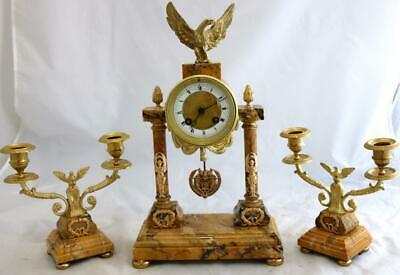 French Antique Mantle Clock Set 8 Day Striking orange Marble Portico 3 Piece