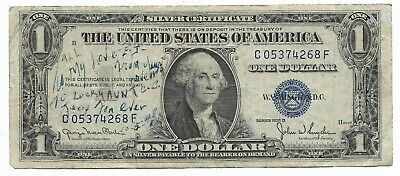 Rare Old US Blue Seal 1935 Dollar Bill Collection Silver Certificate LOVE NOTE!!