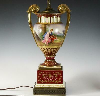 Antique Royal Vienna Urn Lamp with Hand Painted Courting Scenes