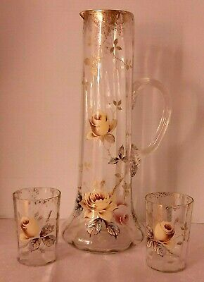 Antique Hand Painted/Enameled Moser  Glass Blown Lemonade Pitcher Two Tumblers