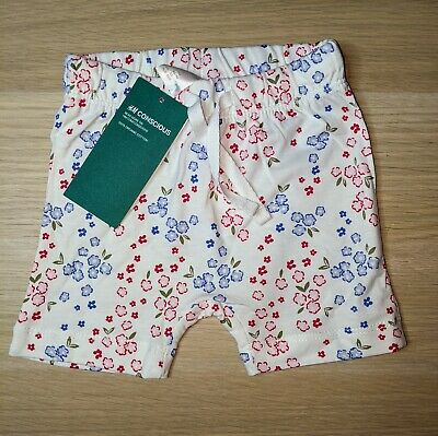 Baby Girls Floral Shorts Blue White Red Summer Bottoms Organic Cotton 3 6 9...