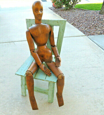 """Large 33"""" Carved Wood Articulated Ball Joint Lay Model Artist Mannequin Figure"""