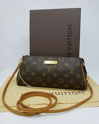 ❤️ LOUIS VUITTON Eva Pochette Monogram Chain Hand Bag Clutch Crossbody M95567