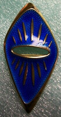 Norway OSVAIS 925 Sterling Silver Blue Enamel Modernist Brooch C-Clasp *ESTATE*