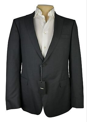 NWT Z Zegna Charcoal Grey Solid Drop 8 Jacket 100% Wool NEW $995 Size 44 L