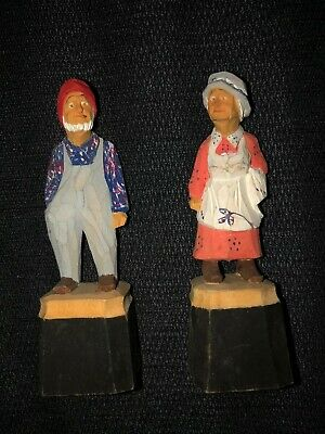 Vintage Carved Wood Figures - Old Man & Old Woman Figurines - Folk Art  - Signed