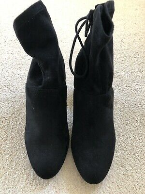 Dorothy Perkins Black Faux Suede Ankle Boots Size 4