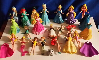 POLLY POCKET 20 DISNEY PRINCESS MagiClip Dolls 12 Dresses 2 Capes Magic Clip EUC