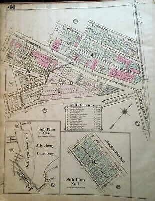 1923 Pittsburgh Pa Allegheny & St Mary's Cemetery Bloomfield Bridge Atlas Map