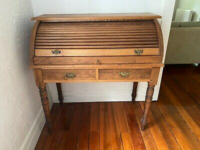 Antique, timber roll-top writing desk