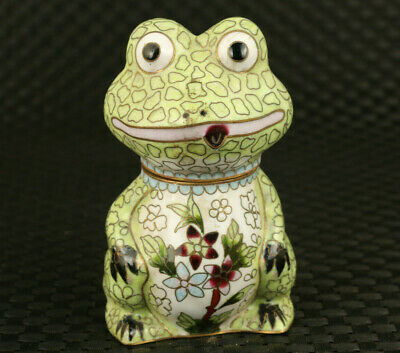 chinese old only one cloisonne Handpaint frog box statue decoration collectable
