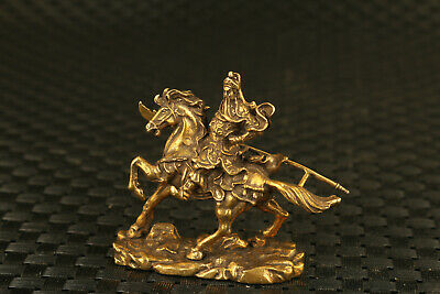 Chinese old bronze GUAN GONG hero on horse statue collectable noble gift