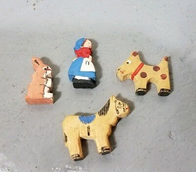 ANTIQUE VINTAGE WOODEN HAND CARVED painted CRECHE FIGURES MINIATURE