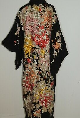 Gorgeous C. 1930's Padded Hand Embroidered Flowers / Birds Silk Kimono