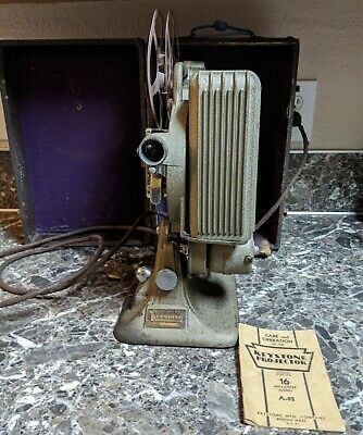 Keystone 16mm Projector Model A-82 Variable Speed Vintage w/ Case Manual Tested