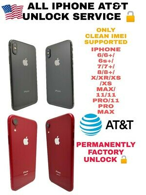 Premium Factory Unlock Service At&T For Iphone 6/7/8/X/Xr/Xs/Xsmax/11 To Pro Max