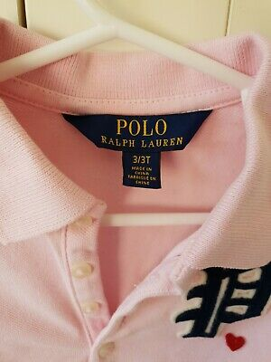 Polo Ralph Lauren Girls Pink Polo Shirt. 2-3 Year Old