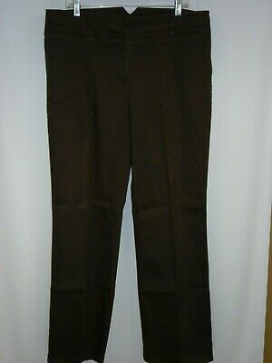 Tribal -Stretch-Extensible Womens Size 16 Pants Brown Zip Button High Rise-Q11@