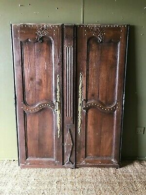 19 c Pair Of Antique Ornate French Armoire Cupboard Doors Wood Panels Panelling