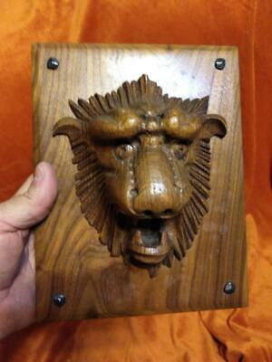 Antique Old Wood Wooden Carving Carved Lion Animal Head Art Sculpture Plaque