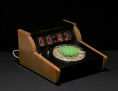 Nixie tube Clock Countdown Timer for Time management. Rotary dial phone clock