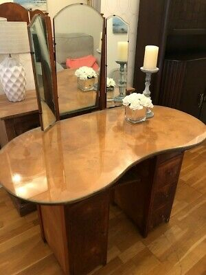 ANTIQUE 1930s DRESSING TABLE - KIDNEY SHAPE, GOOD CONDITION