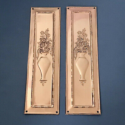 Reclaimed Rose Brass Copper Arts & Crafts Finger Door Push Plates Handles Knobs