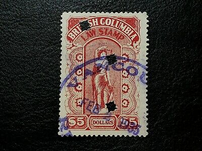 Canada 1912-26 #BCL27 British Columbia 5 Dollars Law Stamp Revenue BC #A232