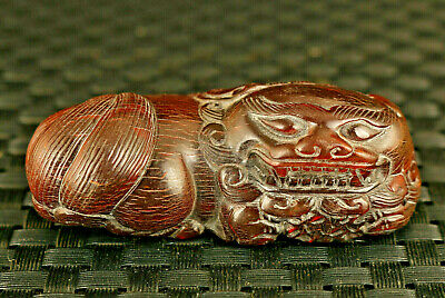 Fortune chinese old yak horn hand carved Kylin pendant netsuke hand piece