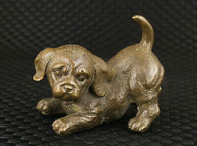 Rare chinese bronze hand casting dog statue collectable Hand pieces