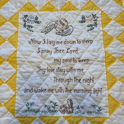 Baby Blanket Embroidered Quilt Yellow White Bed Time Prayer 34 X 37 Inches