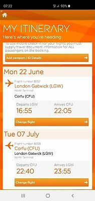 2 Easyjet Plane Tickets Only22/06/2020 - 07/07/2020 Names will need changing