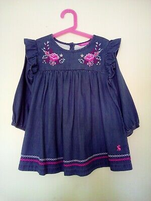 Joules Girls Tunic Dress, Chambray, Embroidered. Age 7-8