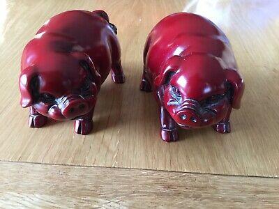 Two Chinese Zodiac Year Of The Pig Red Resin Collectable Figures, Male & Female