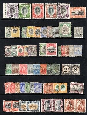 BRITISH COMMONWEALTH T-U countries. 57 Old stamps on stock card. Good condition