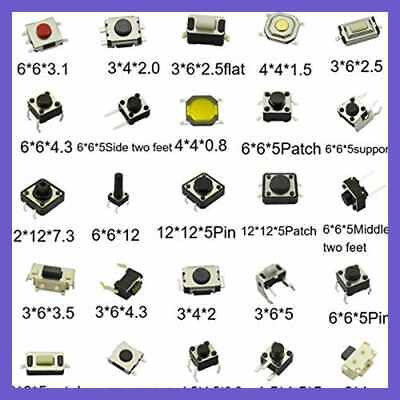 Tactile Button Switch Tact Package Micro Momentary Assortment Kit (25Value 250PC