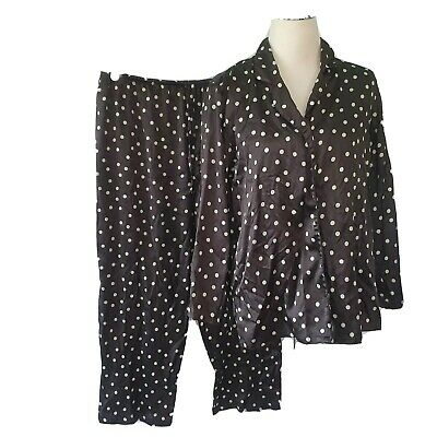 Victoria Secret Polka Dot Pajama Set Top Bottom Pants Long Sleeve Satin Black S
