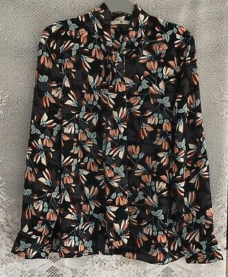TU Black Grey Green Mix Floral Long Sleeve Button Through Top Size 14