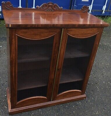 Small Antique Victorian Glazed Two Double Door Bookcase Cabinet Cupboard
