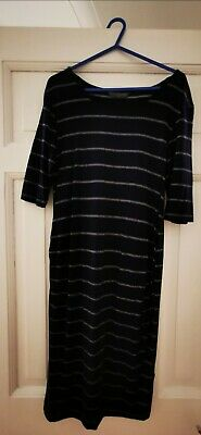 Mothercare Blooming Marvellous Maternity Dress, Size 10 Navy with Silver Stripes