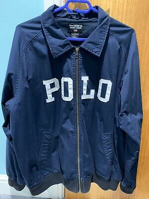 Ralph Lauren Polo Jacket Mens Large Navy Blue Bomber Harrington