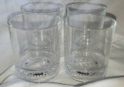 """4 Crown Royal Collectible Embossed Cocktail Drinking Glasses 3.5"""" Tall"""