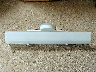 "Vtg U Bar White Frosted Glass Vanity 4 Light MCM Bathroom Wall Fixture 24"" Works"