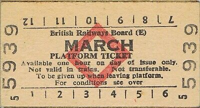 Railway tickets BR platform ticket March 1971