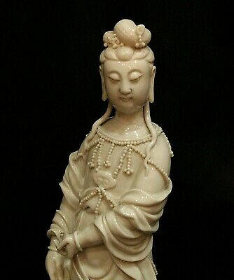 Antique Chinese Blanc de Chine Porcelain 10 Inch Guan-yin Figurine Marked
