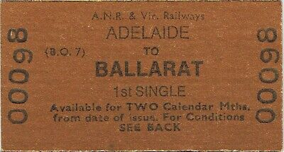 Railway ticket ANR VR Adelaide to Ballarat first class single unused