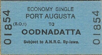 Railway ticket ANRC Port Augusta to Oodnadatta economy single unused